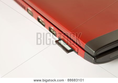Sd Card In Personal Computer Isolated Over White