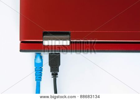 Connected Patch Cable To Laptop, Plug With Internet Cable And Laptop