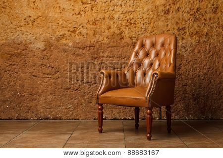 Brown armchair in modern loft