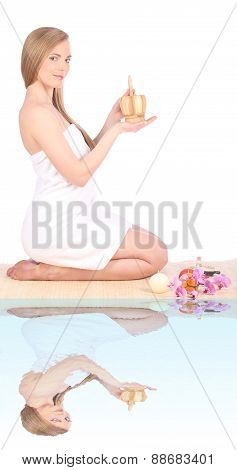Beautiful Young Woman After Bath With Towel Mirror, Isolated On White