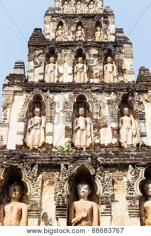 Buddha Sculpture On Buddhist Pagoda In Temple