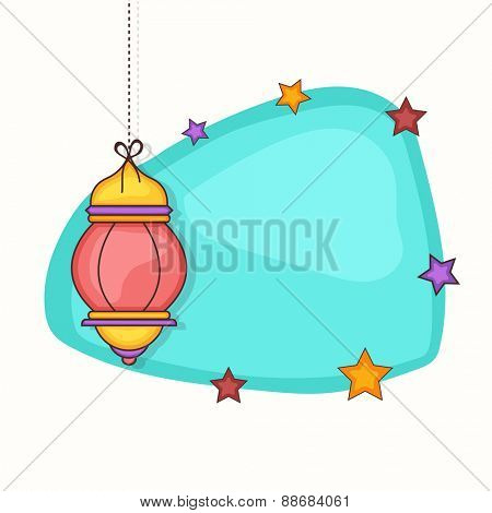 Colorful hanging arabic lamp with a blank stars decorated frame on white background for holy month of muslim community, Ramadan Kareem celebration.