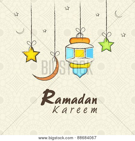 Holy month of muslim community, Ramadan Kareem celebration greeting card with colorful hanging arabic lamp, moon and stars on seamless background.