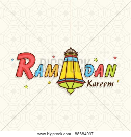 Colorful text Ramadan Kareem with hanging arabic lamp on seamless background for islamic holy month of prayer celebration.