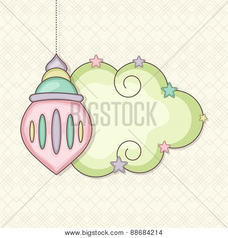 Colorful hanging arabic lamp with a blank frame on seamless background for holy month of muslim community, Ramadan Kareem celebration.