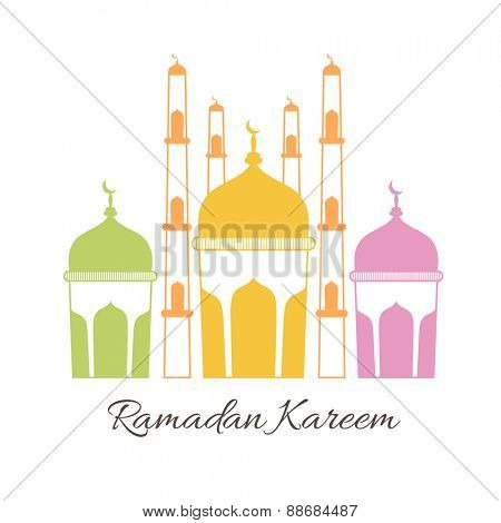Colorful illustration of islamic mosque for holy month of muslim community, Ramadan Kareem celebration.