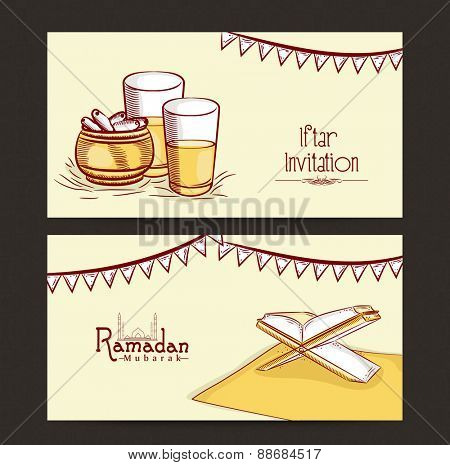 Website header or banner set for holy month of muslim community, Ramadan Kareem celebration.