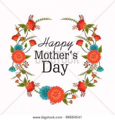 Stylish text Happy Mother's Day in beautiful flowers decorated frame on white background.