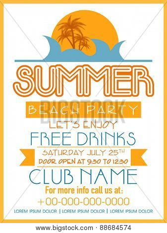 Summer Beach Party template, banner or flyer decorated with nature view.