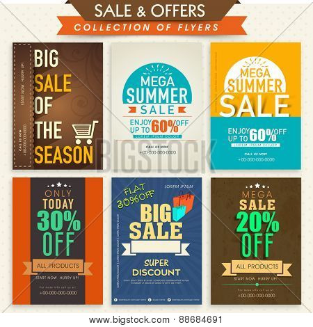 Template, banner or flyers set for Big Sale with attractive discount offers.