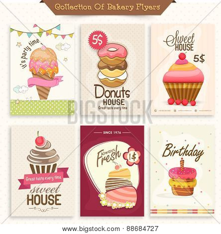 Set of different bakery flyers or menu cards decorated with ice cream, donuts and cupcakes.