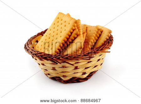 Pile Of Tea Biscuits In A Straw Basket