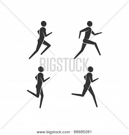 running or jogging men icons
