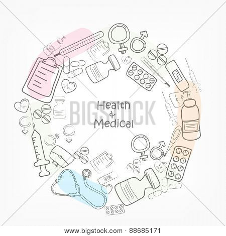 Various medical elements for Health and Medical concept.