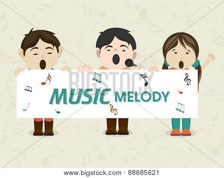 Cartoon of kids singing in microphone and holding white board with text Music Melody.