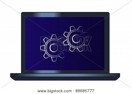 Symbol of the cogwheels on the laptop computer