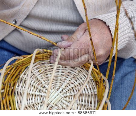 Senior Craftsman Creates A Handmade Wicker Basket