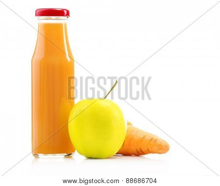 Glass bottle of fresh healthy juice with apple and carrot isolated on white