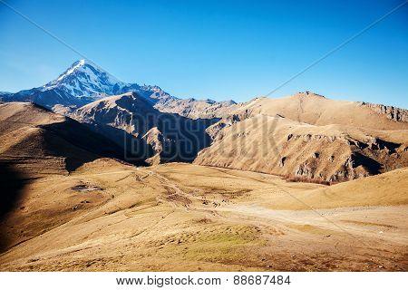 Mount Kazbek In The Caucasian Mountains