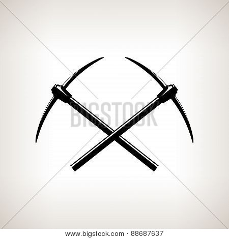 Silhouettes Of Two Crossed Pickaxes