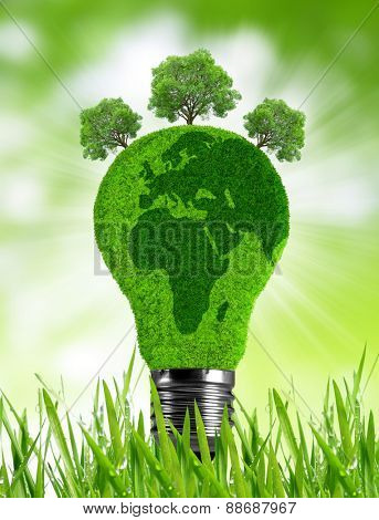 Eco light bulb in grass. Green energy concept.
