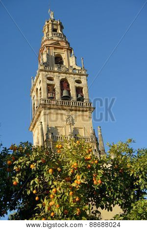 CORDOBA, SPAIN - JANUARY 4, 2013: Tower of the Mosque-Cathedral in a winter day. The tower was built in XVII century by remodeling of the partially demolished minaret of the old mosque