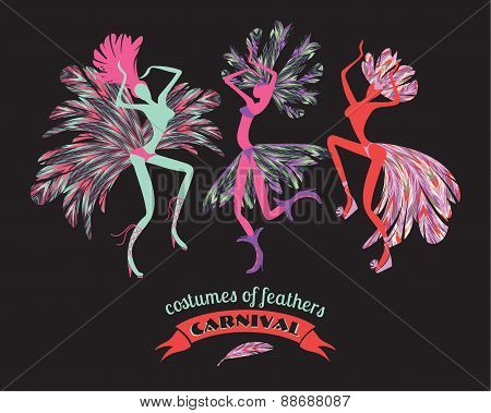 Illustration Of Dancing Women In Carnival Costumes Of Feathers.