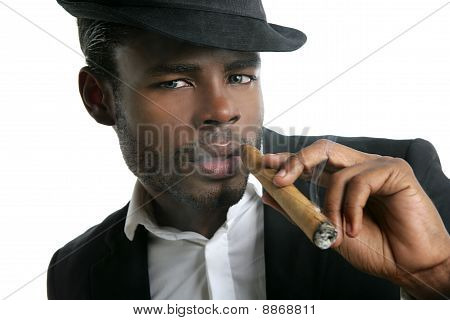African American Man Smoking Cigar Portrait