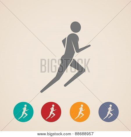illustration of running or jogging man icons