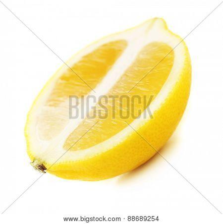 Juicy half of lemon isolated on white