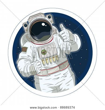 Astronaut gesture okay. Eps10 vector illustration. Isolated on white background