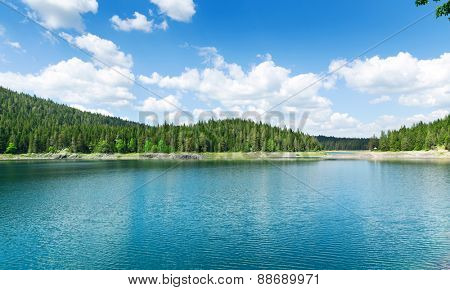 Nice view of blue lake and mountains