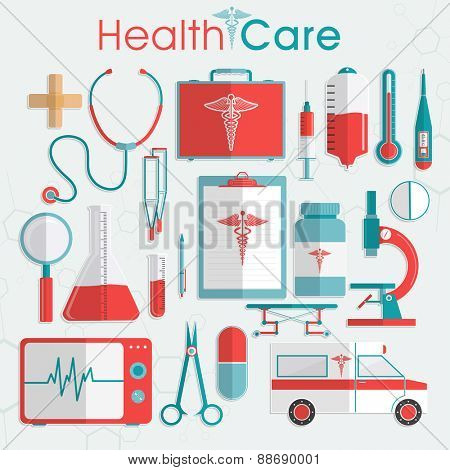 Set of Health Care elements including medical tools, medicines and ambulance on grey background.