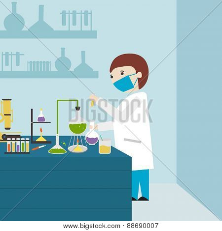 Cartoon of a young scientist working in laboratory with test tube and flask on sky blue background.