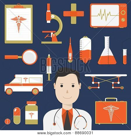 Collection of various Medical elements with cartoon of a smiling doctor on blue background.