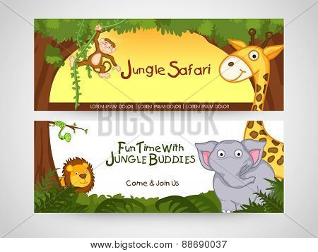 Jungle safari banner or website header with wild animal.