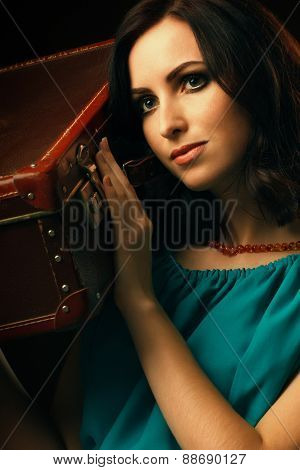 Fashion woman with suitcase