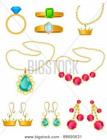 Jewelry set. Rings, pendants and earrings on a white background. Vector illustration