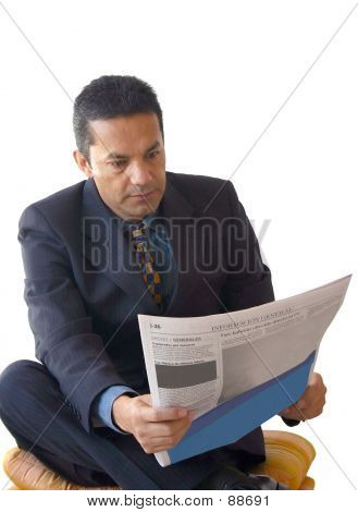 Business Man Reading Newspaper - Je