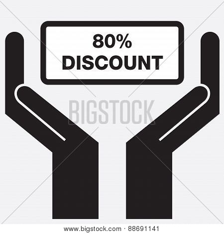 Hand showing 80 percent discount sign