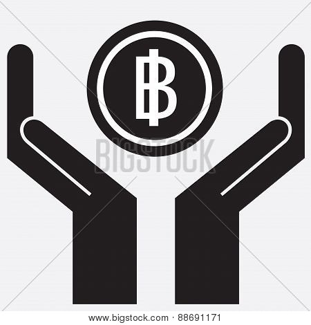 Hand showing baht bill symbol.