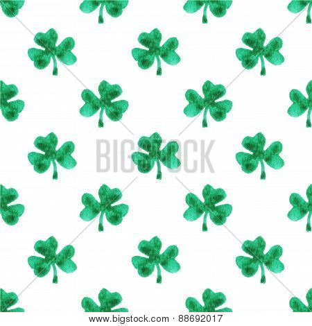 Seamless watercolor pattern with clover leaves on the white background, aquarelle.  Vector illustrat