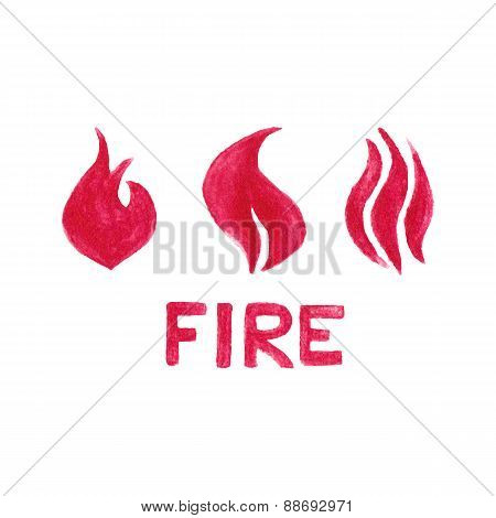 Watercolor flames on the white background, aquarelle pencil.  Vector illustration. Hand-drawn simple