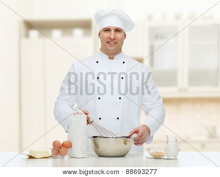 cooking, profession, haute cuisine, food and people concept - happy male chef cook baking over kitchen background