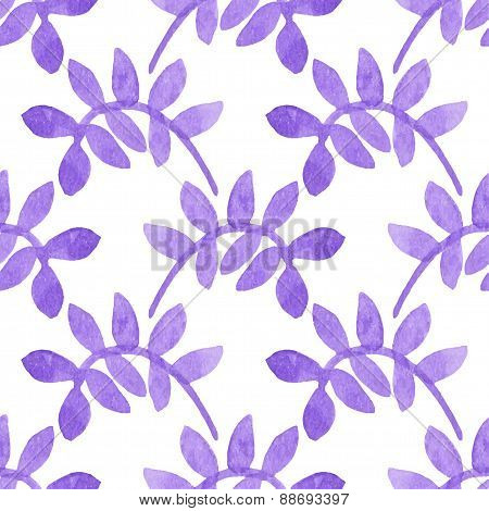 Seamless watercolor pattern with leaves on the white background, aquarelle.  Vector illustration. Ha