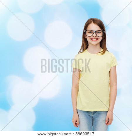 eyeglasses in style  smiling cute little girl