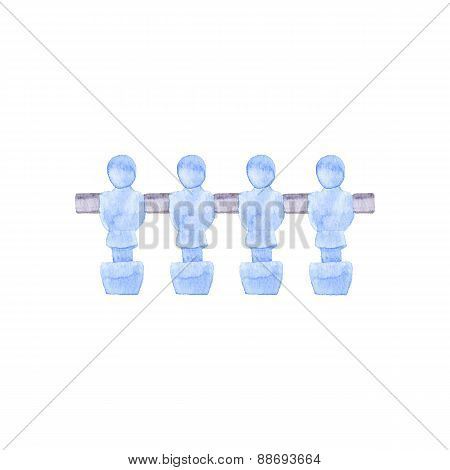 Foosball players. Watercolor object on the white background, aquarelle. Vector illustration.