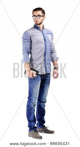 Man in blue shirt and jeans isolated on white
