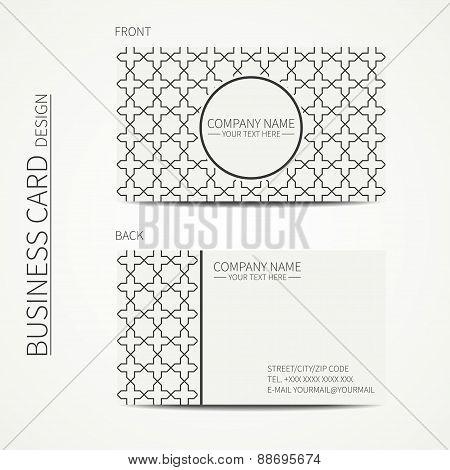 Geometric lattice monochrome business card template with stars for your design. Arabic pattern. Isla