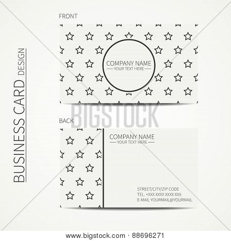 Vintage simple geometric monochrome business card template with stars for your design. Business card